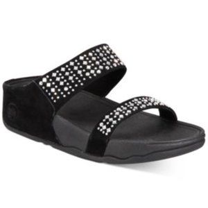 Fitflop $110 Black Novy Slide Sandals Sz 11 NIB